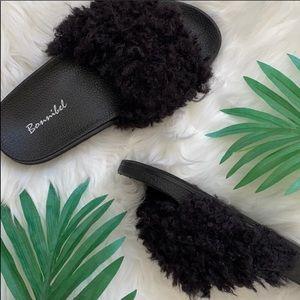 Black Fur Slide Mule Sandal Slippers⭐️New in Box⭐️